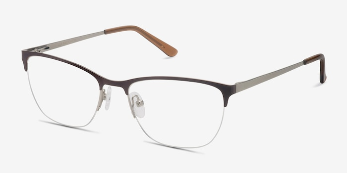 Lille Brown Metal Eyeglass Frames from EyeBuyDirect, Angle View