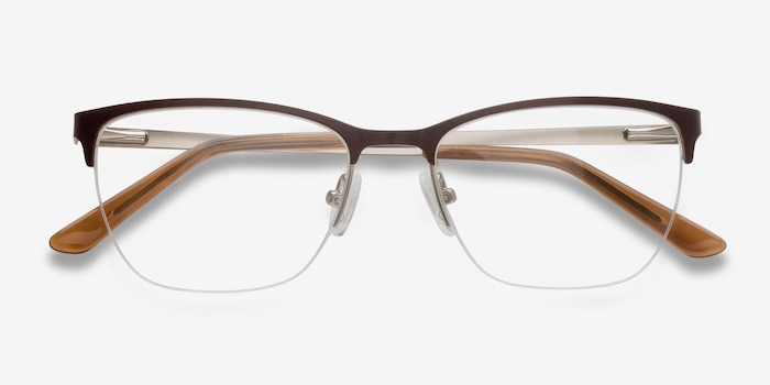 Lille Brown Metal Eyeglass Frames from EyeBuyDirect, Closed View