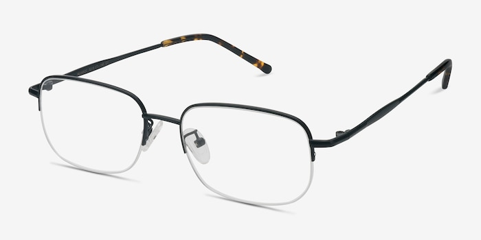 Munroe Black Metal Eyeglass Frames from EyeBuyDirect, Angle View
