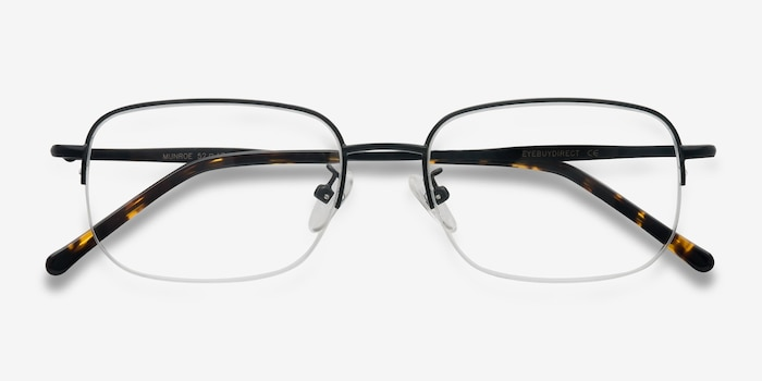 Munroe Black Metal Eyeglass Frames from EyeBuyDirect, Closed View