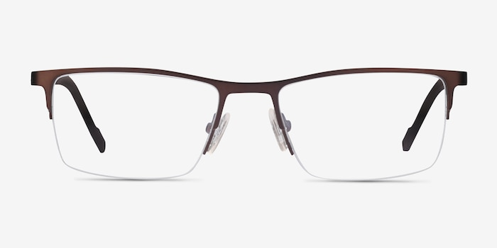 Variable Brown Metal Eyeglass Frames from EyeBuyDirect, Front View
