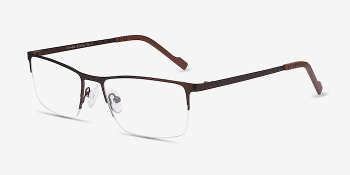 Variable Brown Metal Eyeglass Frames from EyeBuyDirect, Angle View