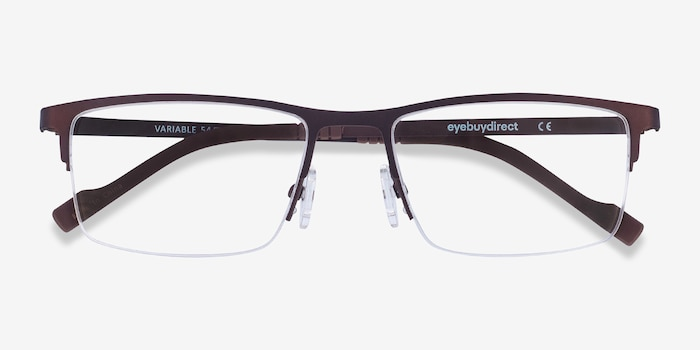 Variable Brown Metal Eyeglass Frames from EyeBuyDirect, Closed View