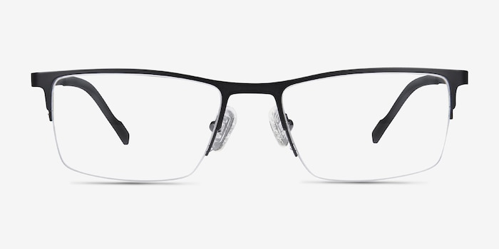 Variable Black Metal Eyeglass Frames from EyeBuyDirect, Front View