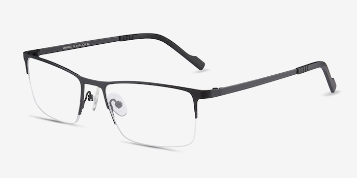 Variable Black Metal Eyeglass Frames from EyeBuyDirect, Angle View