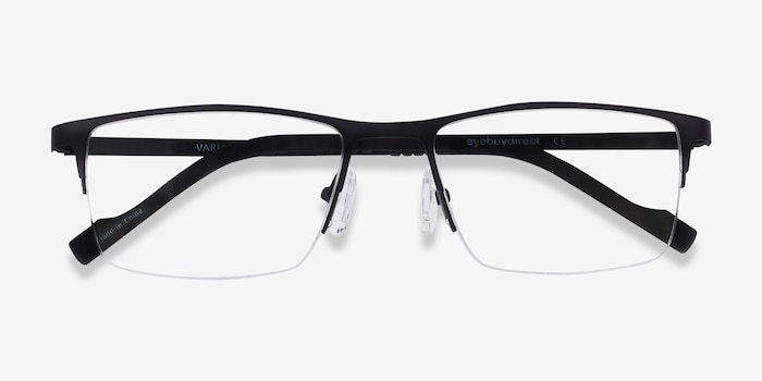 Variable Black Metal Eyeglass Frames from EyeBuyDirect, Closed View