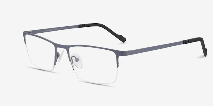 Variable Gray Metal Eyeglass Frames from EyeBuyDirect, Angle View
