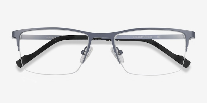 Variable Gray Metal Eyeglass Frames from EyeBuyDirect, Closed View