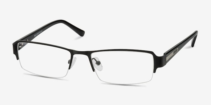 Vela Black Metal Eyeglass Frames from EyeBuyDirect, Angle View