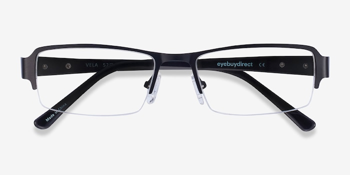 Vela Black Metal Eyeglass Frames from EyeBuyDirect, Closed View