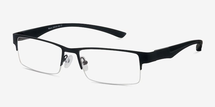 Macon Black Metal Eyeglass Frames from EyeBuyDirect, Angle View