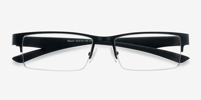 Macon Black Metal Eyeglass Frames from EyeBuyDirect, Closed View
