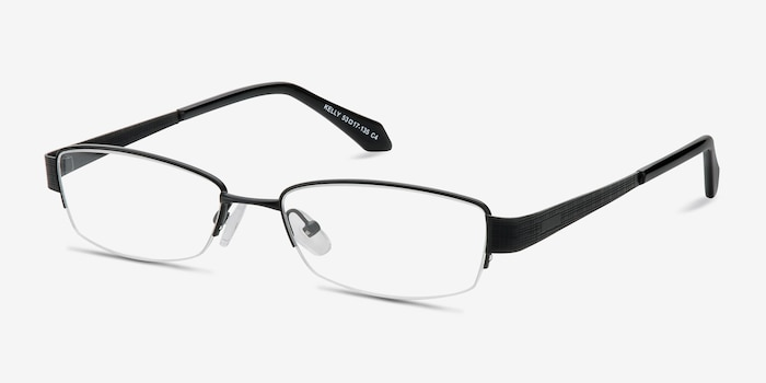 Kelly Black Metal Eyeglass Frames from EyeBuyDirect, Angle View