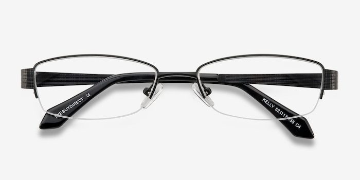 Kelly Black Metal Eyeglass Frames from EyeBuyDirect, Closed View