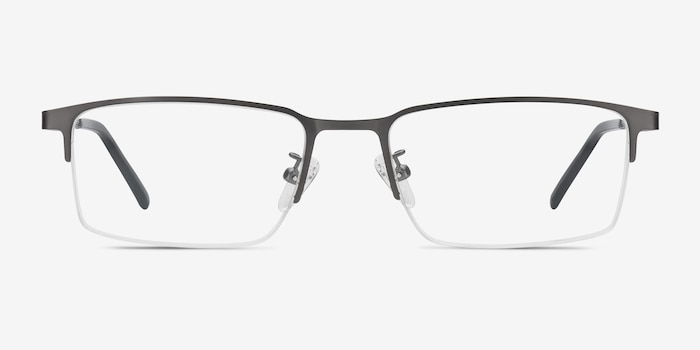 Vienna Gray Metal Eyeglass Frames from EyeBuyDirect, Front View