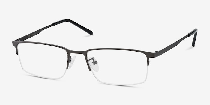 Vienna Gray Metal Eyeglass Frames from EyeBuyDirect, Angle View