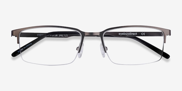 Vienna Gray Metal Eyeglass Frames from EyeBuyDirect, Closed View