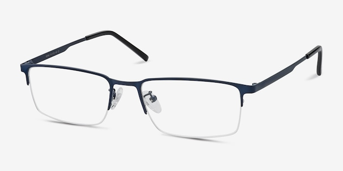 Vienna Navy Metal Eyeglass Frames from EyeBuyDirect, Angle View