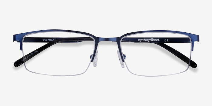 Vienna Navy Metal Eyeglass Frames from EyeBuyDirect, Closed View
