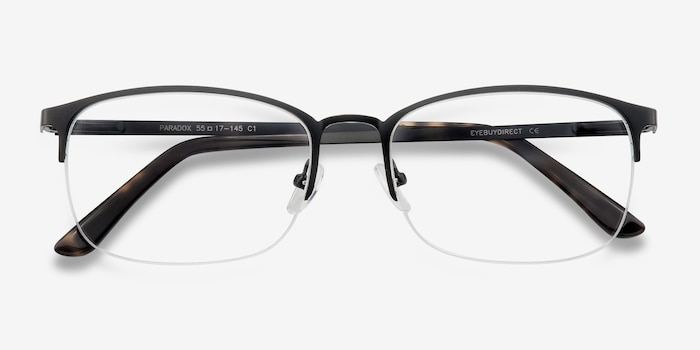 Paradox Black Metal Eyeglass Frames from EyeBuyDirect, Closed View