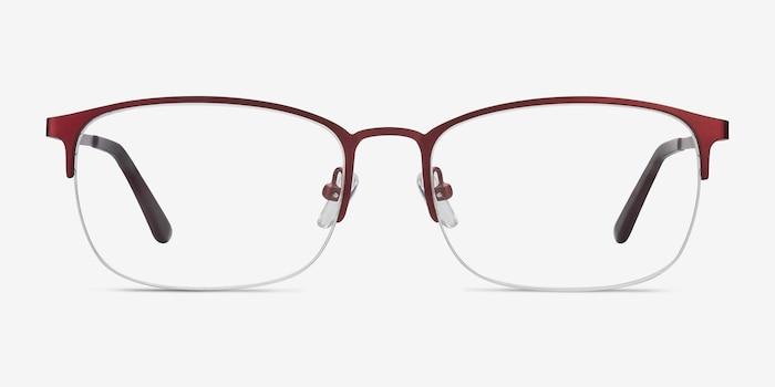 Paradox Red Metal Eyeglass Frames from EyeBuyDirect, Front View