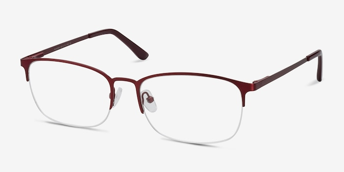 Paradox Red Metal Eyeglass Frames from EyeBuyDirect, Angle View
