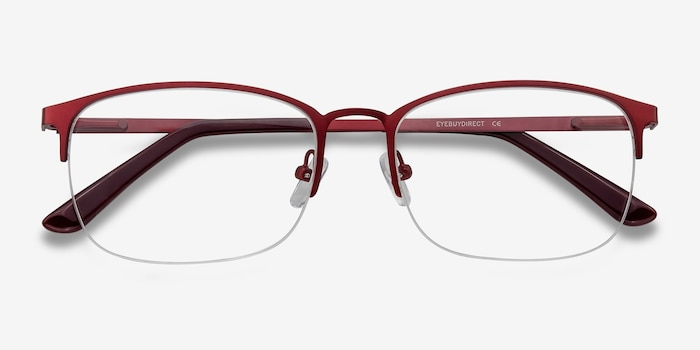 Paradox Red Metal Eyeglass Frames from EyeBuyDirect, Closed View
