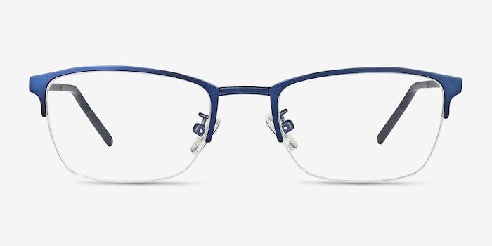 Argil Matte Navy Metal Eyeglass Frames from EyeBuyDirect, Front View