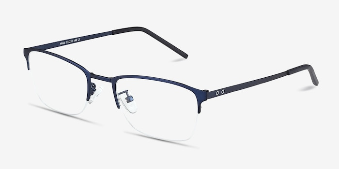 Argil Matte Navy Metal Eyeglass Frames from EyeBuyDirect, Angle View