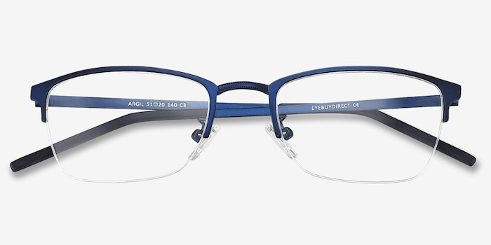 Argil Matte Navy Metal Eyeglass Frames from EyeBuyDirect, Closed View