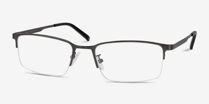 Bezel Dark Charcoal Metal Eyeglass Frames from EyeBuyDirect, Angle View