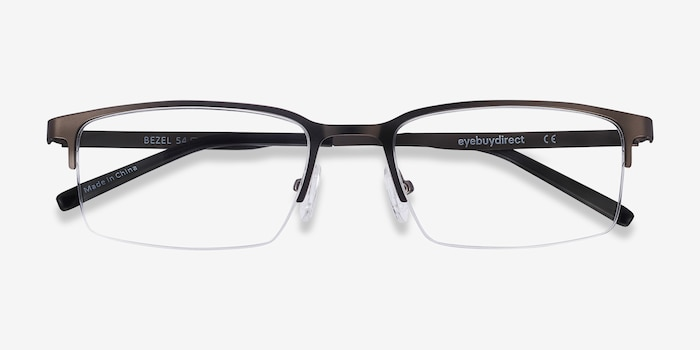 Bezel Dark Charcoal Metal Eyeglass Frames from EyeBuyDirect, Closed View