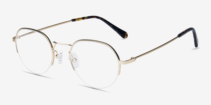 Kalpana Golden Metal Eyeglass Frames from EyeBuyDirect, Angle View