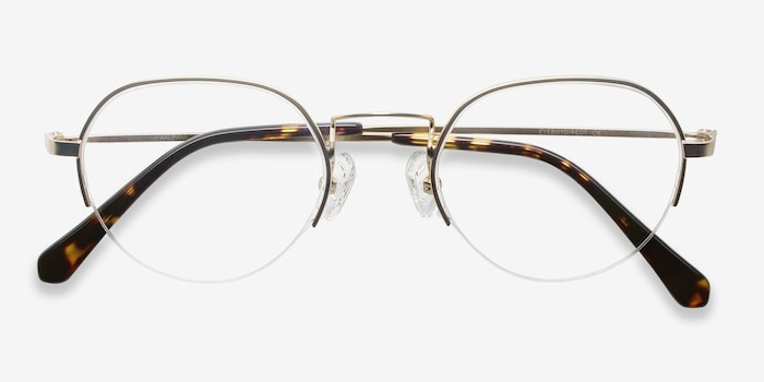 Kalpana Golden Metal Eyeglass Frames from EyeBuyDirect, Closed View