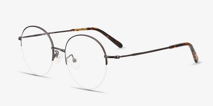 Albee Gunmetal Metal Eyeglass Frames from EyeBuyDirect, Angle View