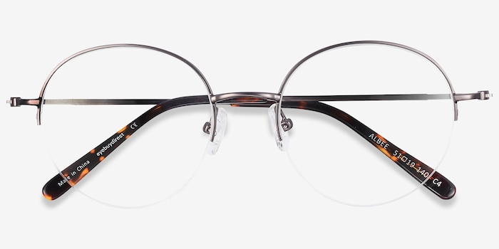 Albee Gunmetal Metal Eyeglass Frames from EyeBuyDirect, Closed View