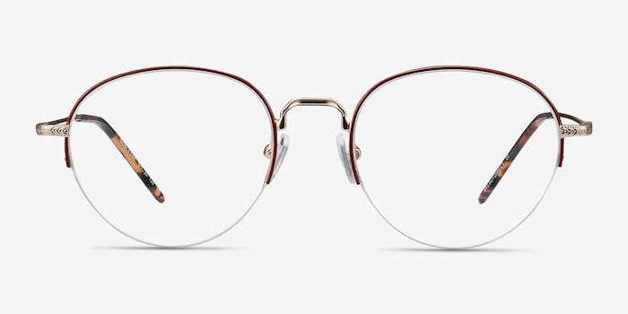 Noblesse Red Metal Eyeglass Frames from EyeBuyDirect, Front View