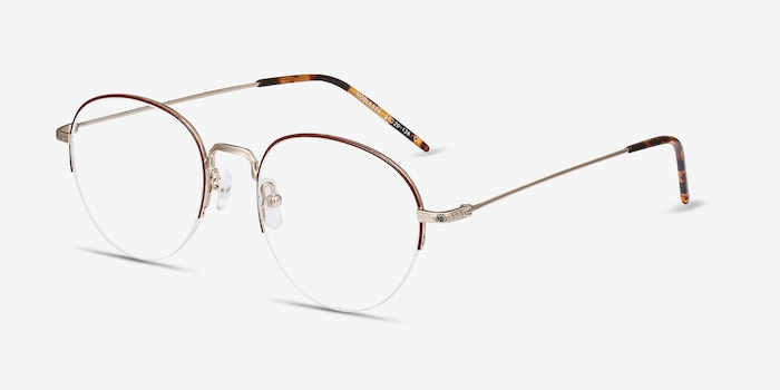Noblesse Red Metal Eyeglass Frames from EyeBuyDirect, Angle View