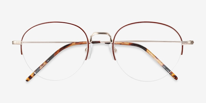 Noblesse Red Metal Eyeglass Frames from EyeBuyDirect, Closed View