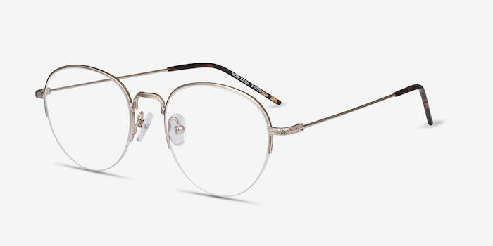 Noblesse Golden Metal Eyeglass Frames from EyeBuyDirect, Angle View