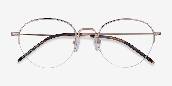 Noblesse Golden Metal Eyeglass Frames from EyeBuyDirect, Closed View