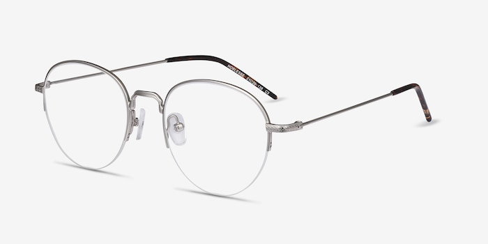 Noblesse Silver Metal Eyeglass Frames from EyeBuyDirect, Angle View