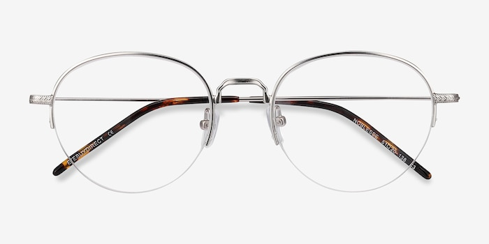 Noblesse Silver Metal Eyeglass Frames from EyeBuyDirect, Closed View