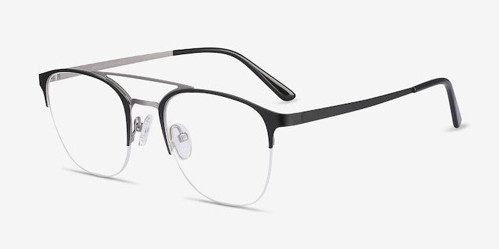 Society Black Metal Eyeglass Frames from EyeBuyDirect, Angle View