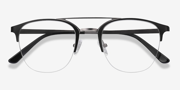 Society Black Metal Eyeglass Frames from EyeBuyDirect, Closed View