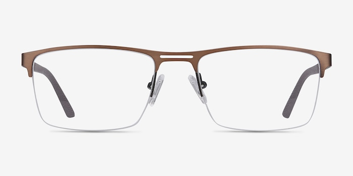 Cavalier Brown Metal Eyeglass Frames from EyeBuyDirect, Front View