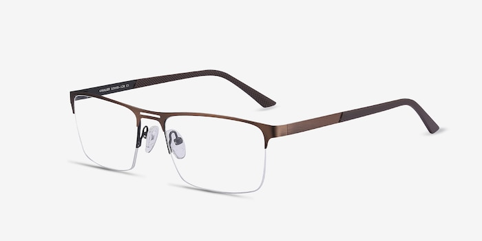 Cavalier Brown Metal Eyeglass Frames from EyeBuyDirect, Angle View