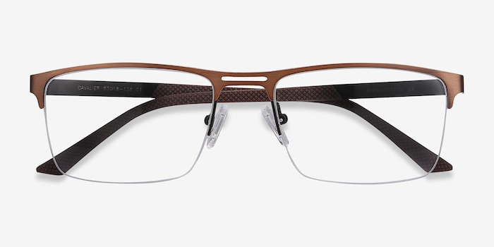 Cavalier Brown Metal Eyeglass Frames from EyeBuyDirect, Closed View