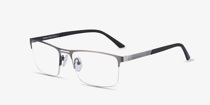 Cavalier Gunmetal Metal Eyeglass Frames from EyeBuyDirect, Angle View