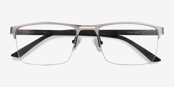 Cavalier Gunmetal Metal Eyeglass Frames from EyeBuyDirect, Closed View